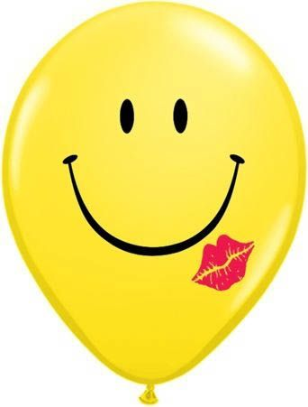 Qualatex Ballon Smiley mit Kuss 30cm