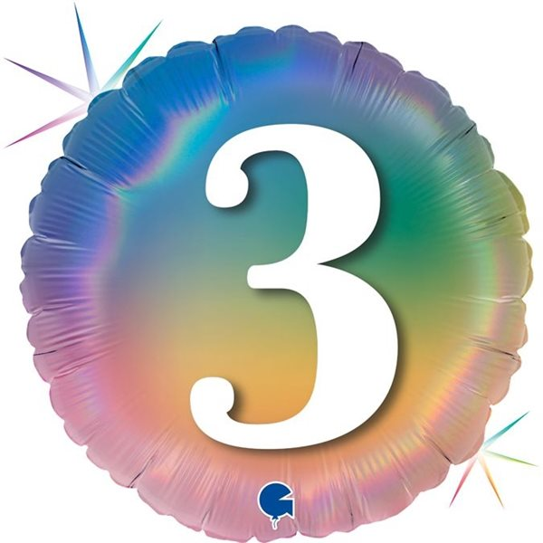 "Folienballon Regenbogen ""3"" 46cm"