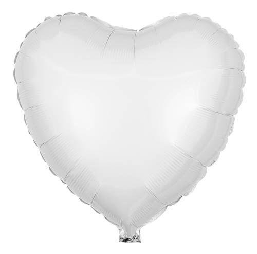 Folienballon Herz Weiß 45cm