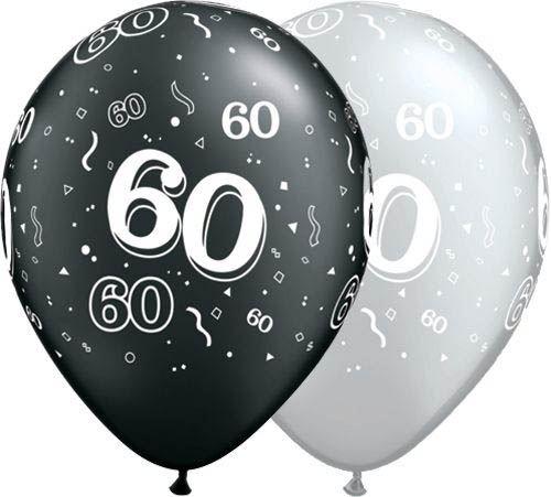 Qualatex Ballon 60. Geburtstag Pearl Schwarz & Silber 30cm