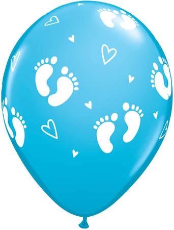 Qualatex Latexballon Baby Füße & Herzen Hellblau Ø 30cm