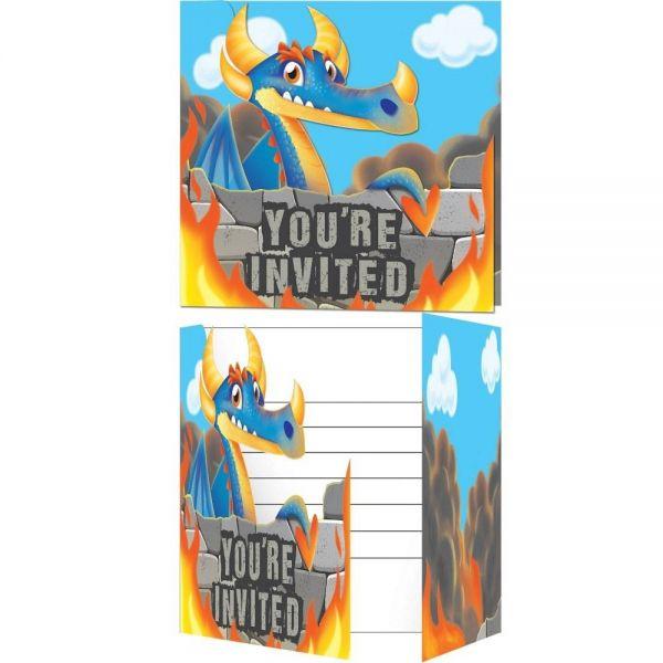 Drachen - 8 Einladungskarten mit Umschlägen