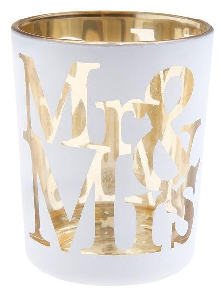 """2 Teelichtgläser """"Mr & Mrs"""" Weiß"""