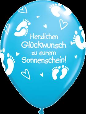 """Qualatex Latexballon """"Herzlichen Glückwunsch zu eurem Sonnenschein!"""" Hellblau Ø 40cm"""