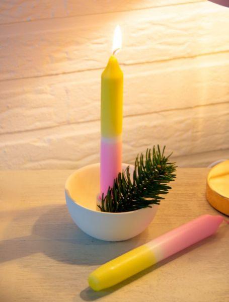 DIP-DYE-Stabkerzen Gelb / Pink