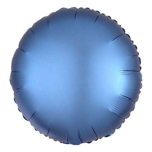 Folienballon Rund Satin Azur Blau 45cm