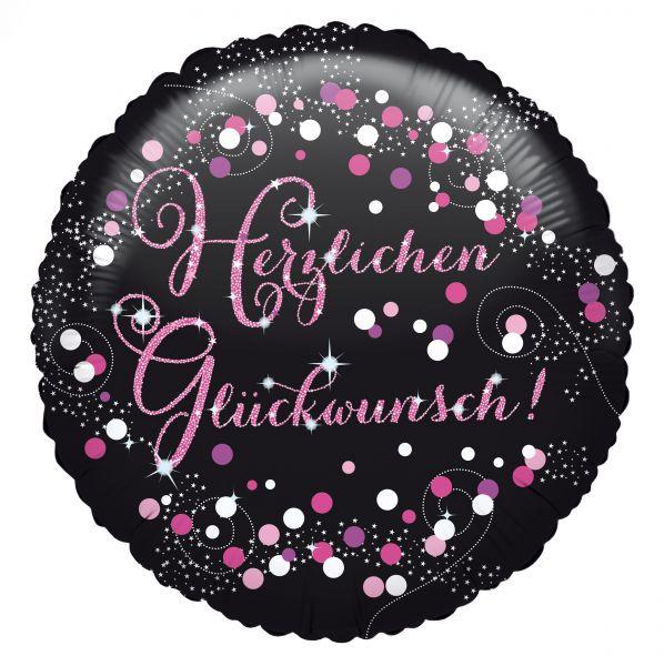 Folienballon Holographic Herzlichen Glückwunsch Pink 45cm