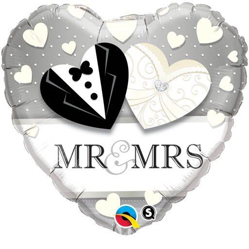 Folienballon Herz Mr. & Mrs. zur Hochzeit 43cm