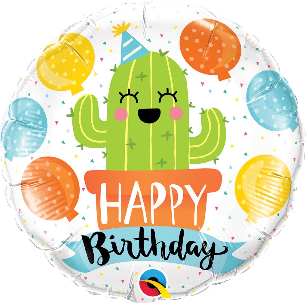 Folienballon Geburtstagsparty Mit Kaktus 45cm Runde Ballons