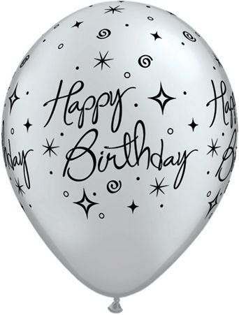 Qualatex Latexballon Happy Birthday Elegant Assorted Pearl Onyx Black/ Silver Ø 30cm
