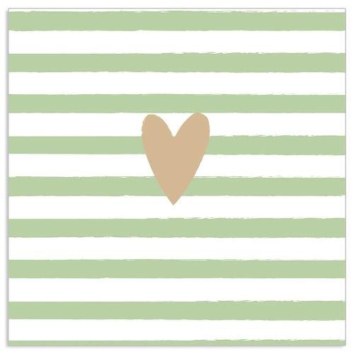 20 gestreifte Servietten mit Herz Mint & Gold