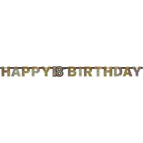 Sparkling Celebration Silber & Gold - Happy Birthday 18 Holo Girlande