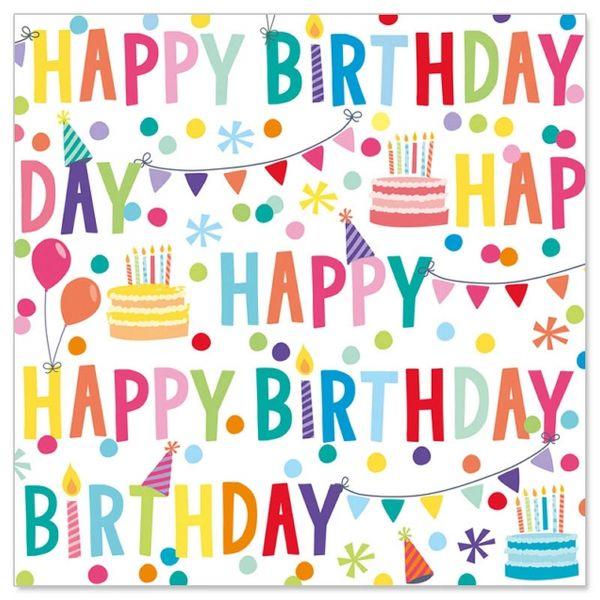 "20 Geburtstags-Servietten ""Happy Birthday"" Bunt"