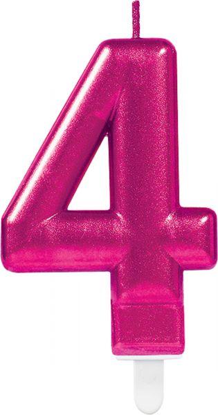 """Sparkling Celebrations Pink - Zahlenkerze """"4"""""""