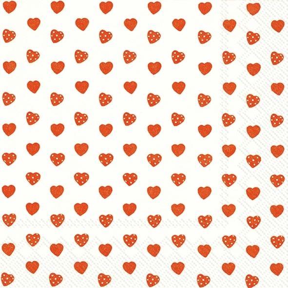 Sweetheart - 20 rote Herzchen-Servietten