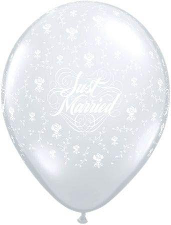 Qualatex Latexballon Just Married mit Blumen Transparent Ø 13cm