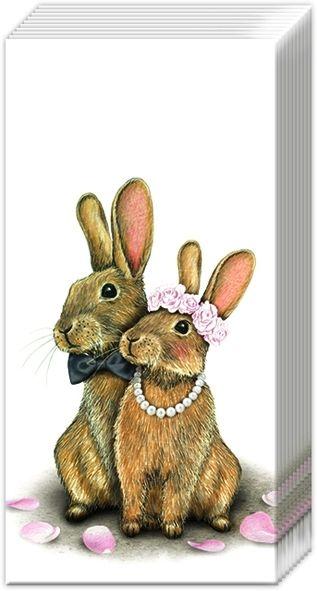 Häschen-Hochzeit - 10 Papiertaschentücher
