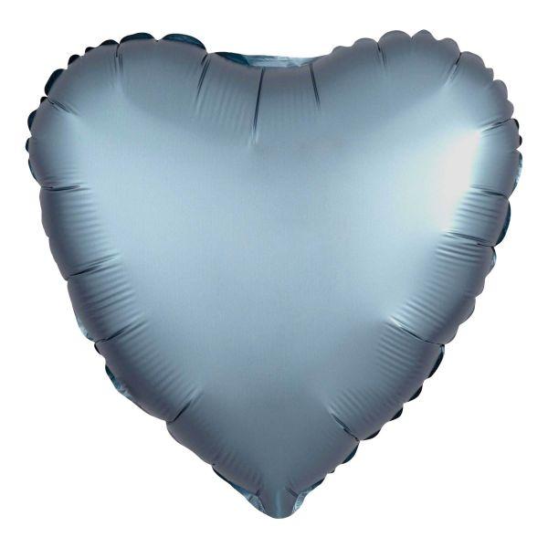 Folienballon Herz Satin Stahl Blau 45cm
