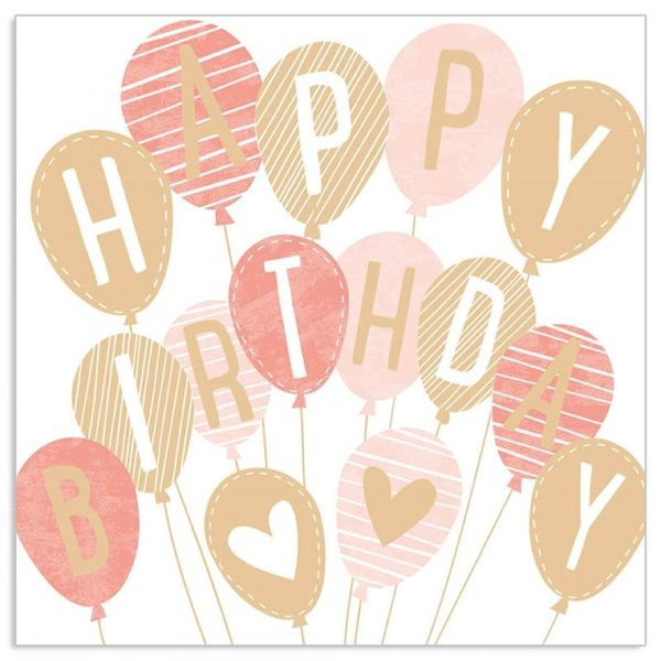 20 Geburtstags-Servietten - HappyBirthday- Gold/Nude