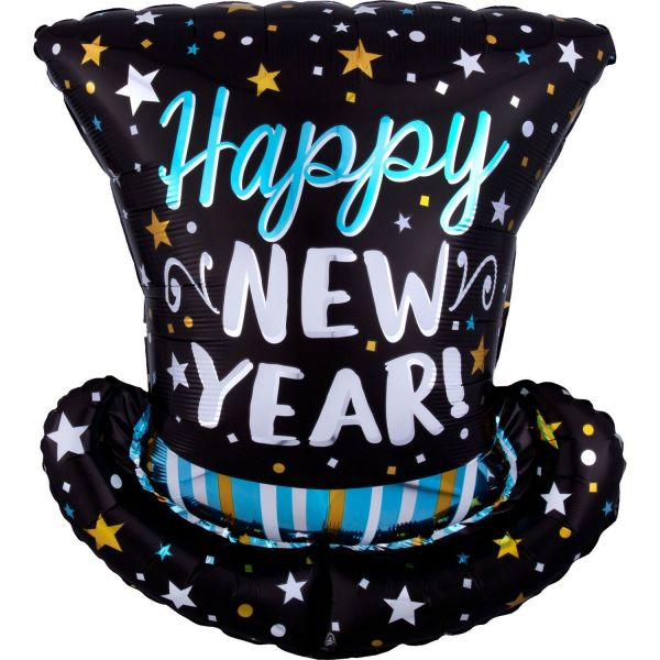 Folienballon Happy New Year Zylinder Satin Schwarz 60cm