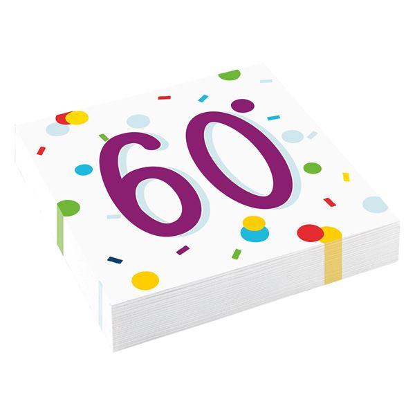 Confetti Birthday - 60. Geburtstag 20 Servietten