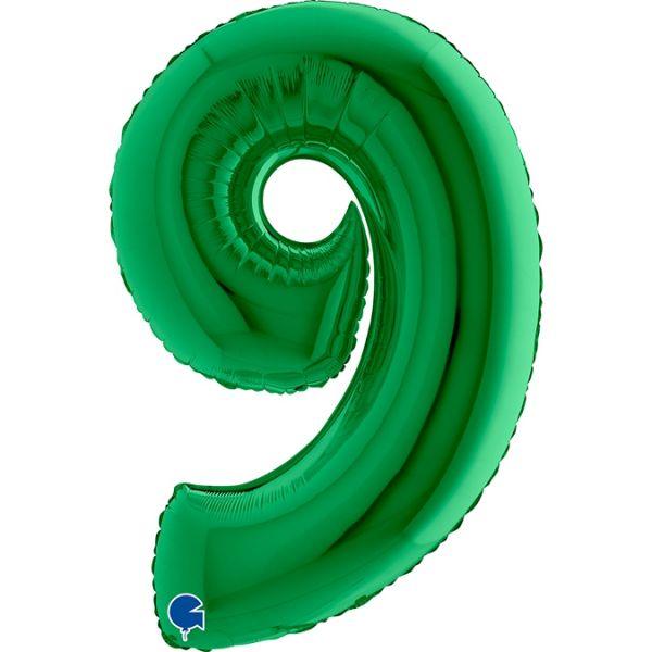 Folienballon Zahl 9 Grün 100cm