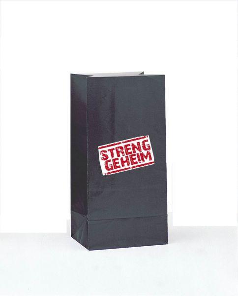 Streng Geheim - 12 Papier-Mitgebseltüte Schwarz mit Stickern