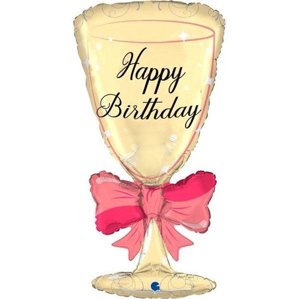 """Folienballon Happy Birthday """"Sektglas"""" 91cm"""