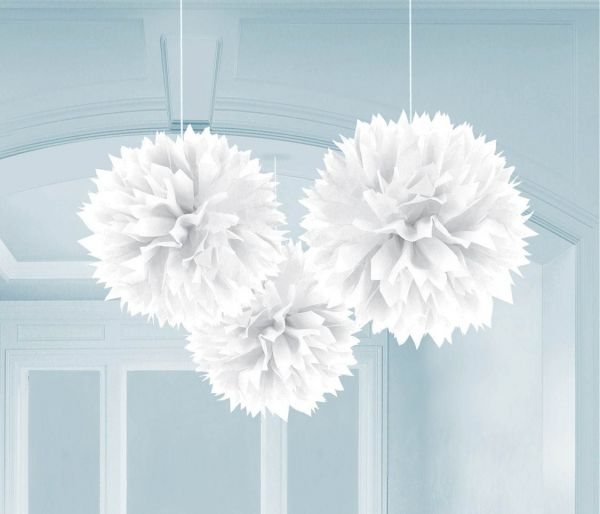 Schneeweiß- 3 Fluffy Pom Poms