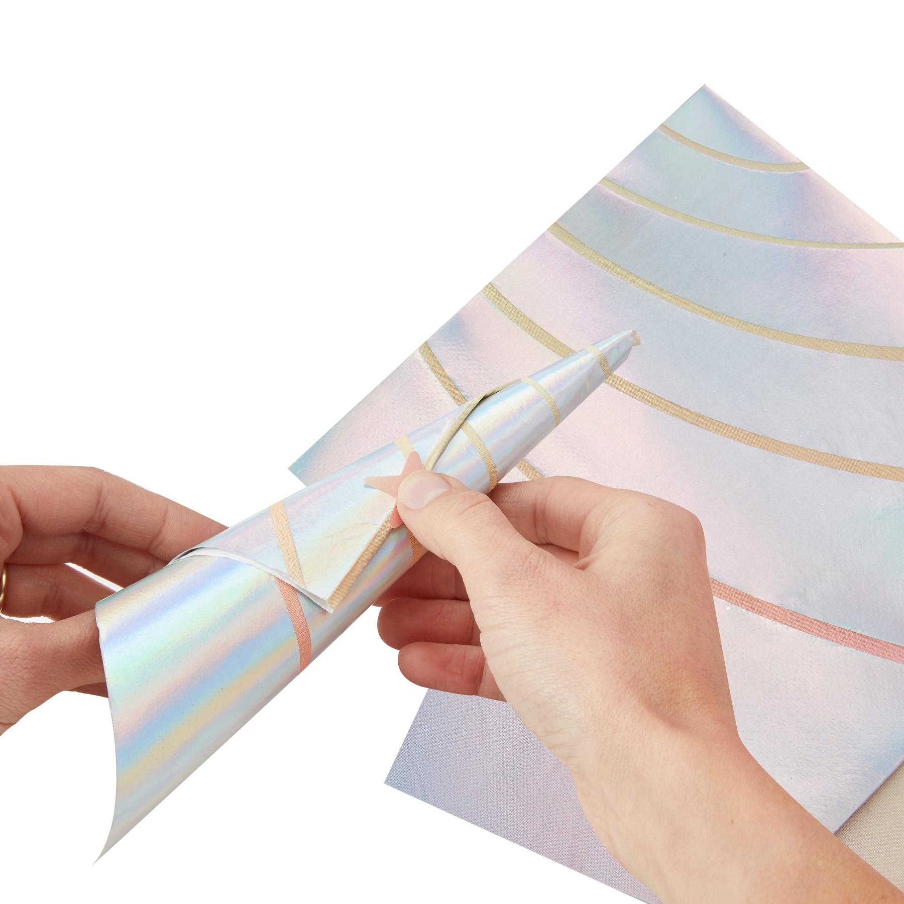 Make a wish einhorn 10 schimmernde einhorn servietten einhorn themen f r m dchen kinder - Einhorn geschenkverpackung ...