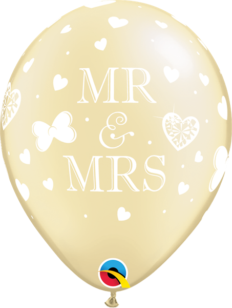 Qualatex Latexballon Mr. & Mrs. Pearl Elfenbein Ø 30cm