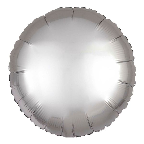 Folienballon Rund Satin Platin Silber 45cm
