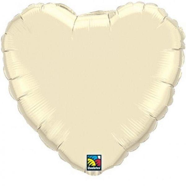 Folienballon Herz Pearl Elfenbein 45cm