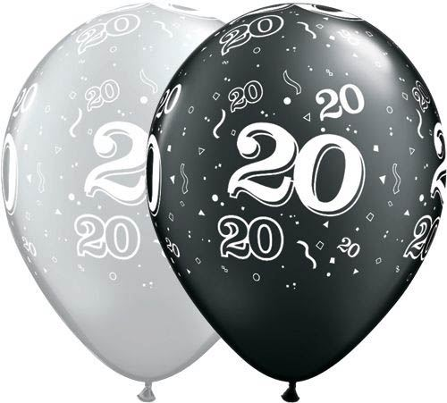 Qualatex Ballon 20. Geburtstag Pearl Schwarz & Silber 30cm