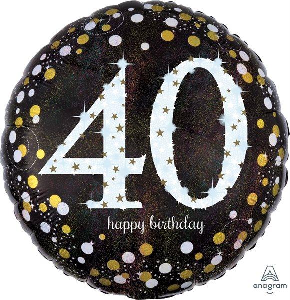 "Folienballon Sparkling Birthday ""40"" 43cm"
