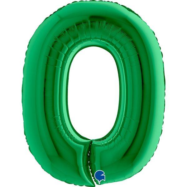 Folienballon Zahl 0 Grün 100cm