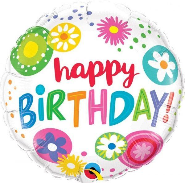 Folienballon Happy Birthday Blumen 45cm