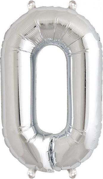 Luftballon Zahl 0 Silber 40 cm