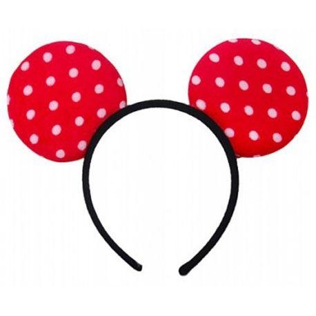 Rot - Haarreifen mit Minnie-Maus-Ohren