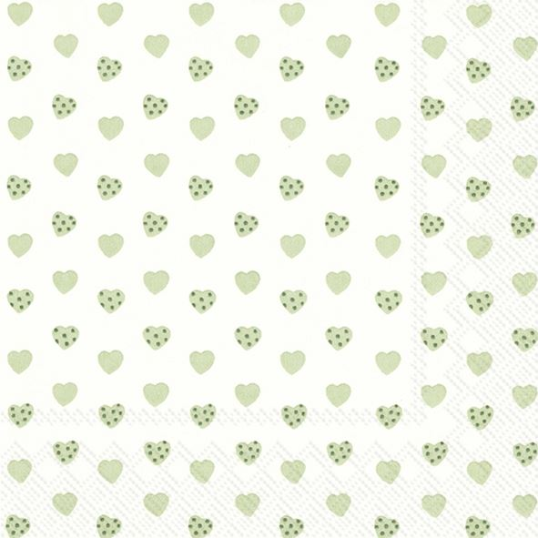 Sweetheart - 20 grüne Herzchen-Servietten