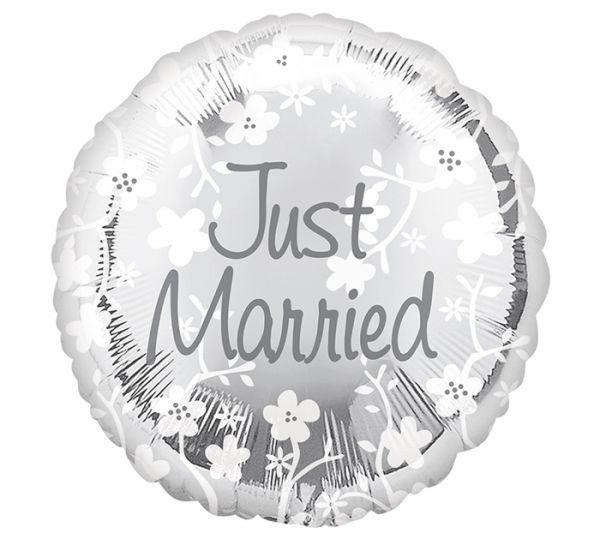 """Folienballon Hochzeit """"Just Married"""" mit Blumenranke 45cm"""