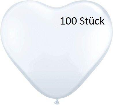 Latexballon Herz White 100 Stück Ø 35cm