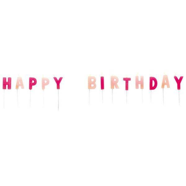 Happy Birthday Kerzen-Set Rosa