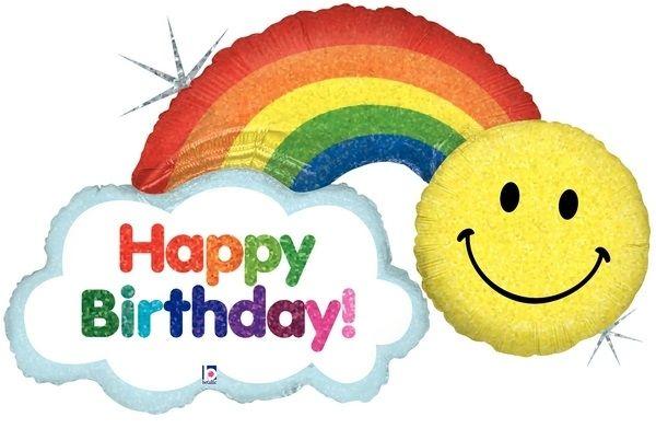 Geburtstagsballon Regenbogen & Smiley