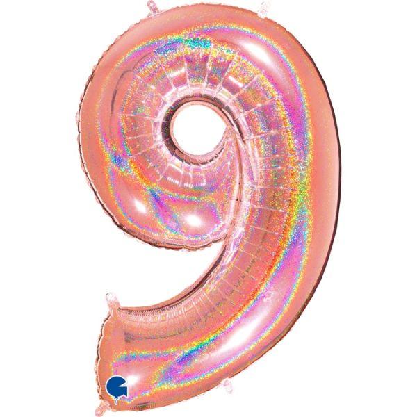 Folienballon Zahl 9 Glitter Roségold 100cm