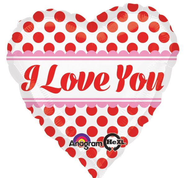 Folienballon Herz I Love You Polka Dots 45 cm