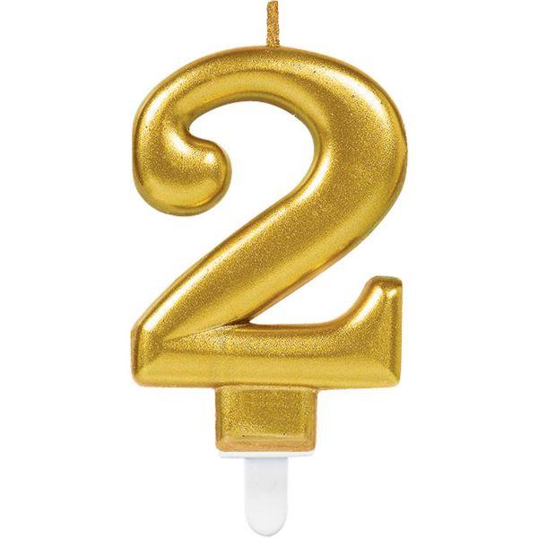 "Sparkling Celebrations Gold - Zahlenkerze ""2"""