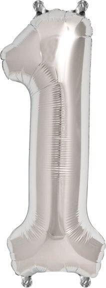 Luftballon Zahl 1 Silber 40 cm