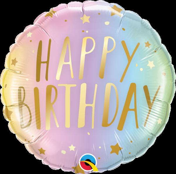 "Folienballon ""Happy Birthday"" Pastell Ombré 45cm"