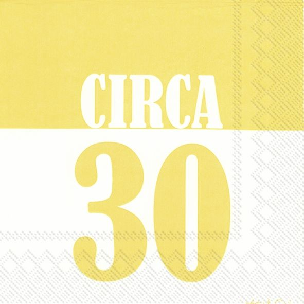 Circa 30 - 20 gelbe Geburtstags-Servietten